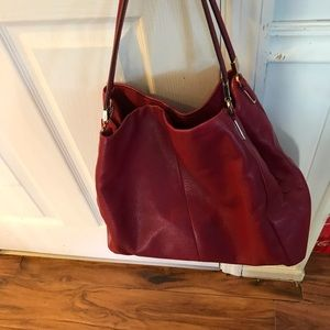 Red leather Coach purse.